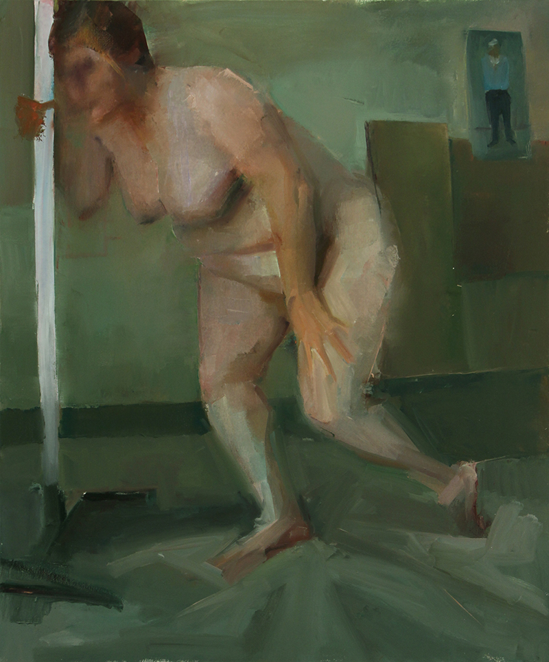 "BESIDE, seen, Oil on canvas, H42""xW35"", 2009"