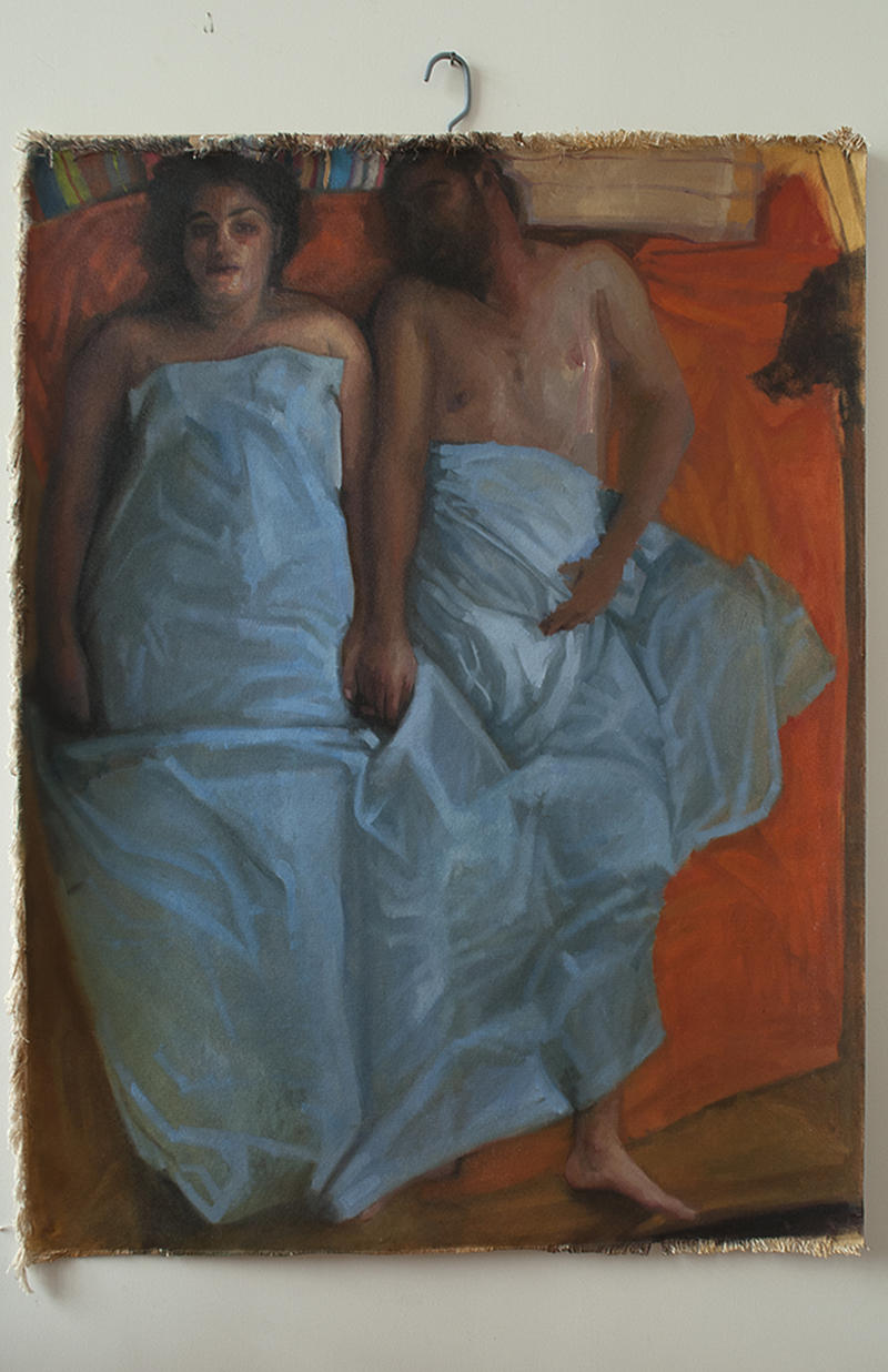 "Home More and Less, Noa and Ariel orange sheet, H60""xW48"", 2011"