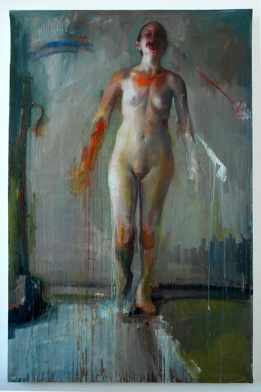 "Beside, untouched, Oil on canvas, H74""xW48"", 2011"