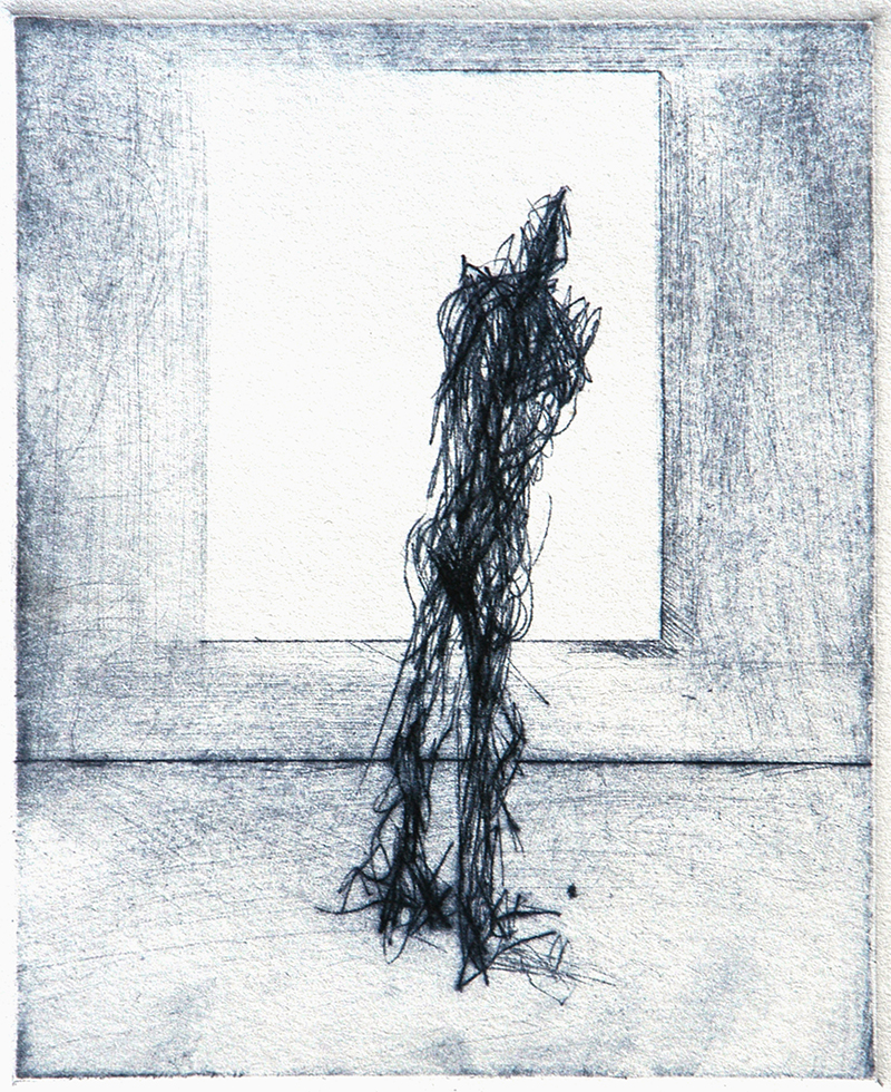 "Drypoints, line 1, Ink on paper, H5""xW4"", 2010"