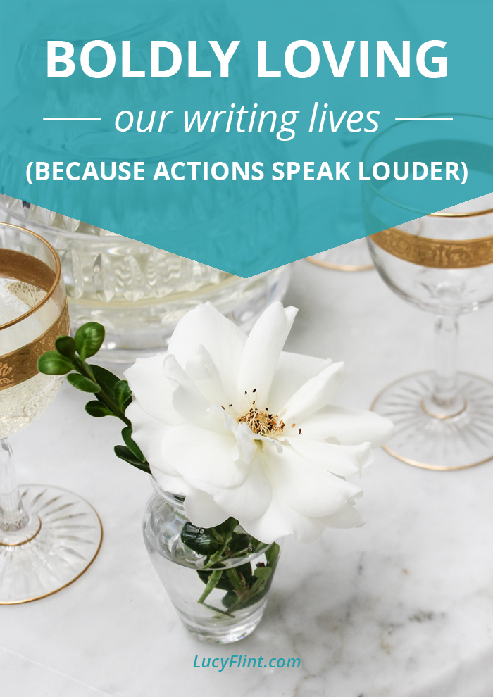 It's the third installment of our Loving Your Writing Life Series... These prompts are gonna double-dare you to *act* like you love your writing life like crazy, even if you don't quite feel that way. Yet. (It'll come.) | lucyflint.com