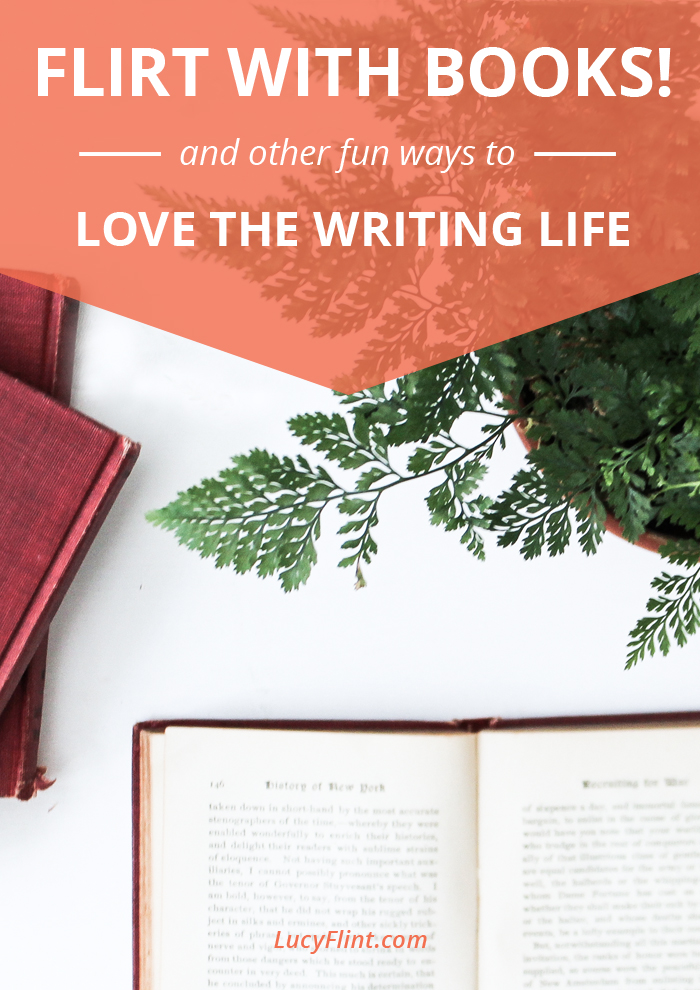 The next installment of the Love Your Writing Life series: we're going to be flirting with books, celebrating our happiest writing moments, giving gifts, and savoring words. SO much writerly fun--join us! | lucyflint.com