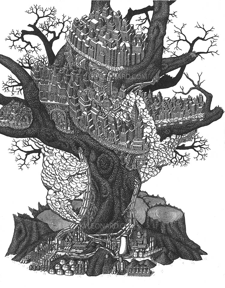 "TREE OF INDUSTRY   Original: 11"" x 14""  © 2014 Kyle Leonard"