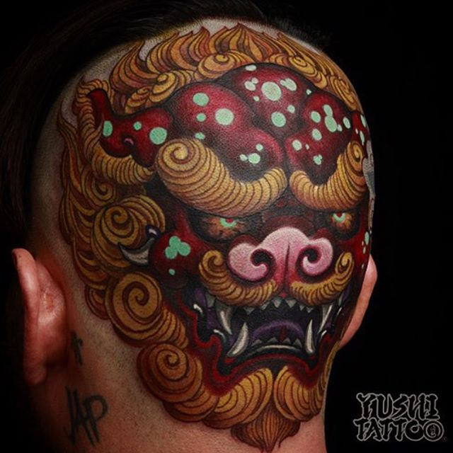 Check it this piece Yushi by @yushitattoo #tattoo #tattooer #tattooartist #color #yushitattoo #headtattoo #inkandhonor
