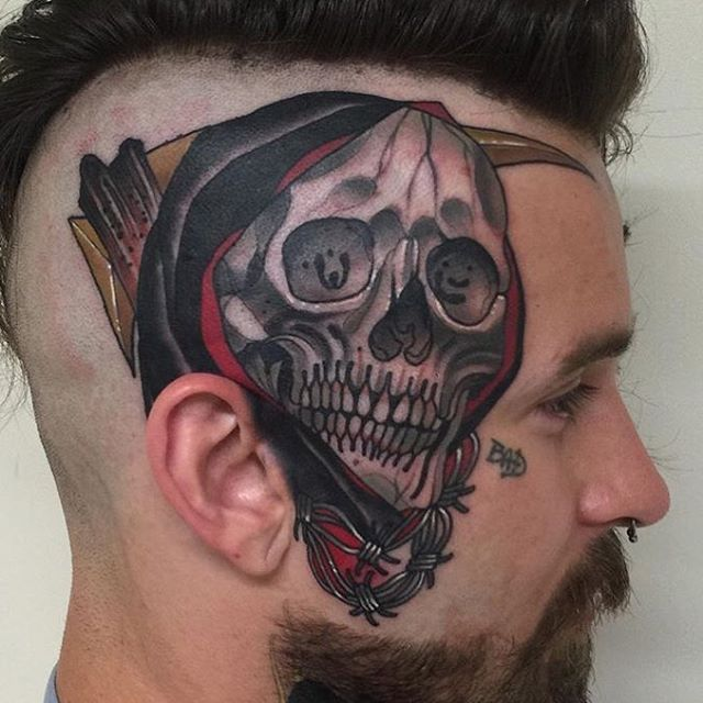 Check out this piece by Matt Adamson @mattadamson #reaper #mattadamson #tattooer #colortattoos #inkandhonor