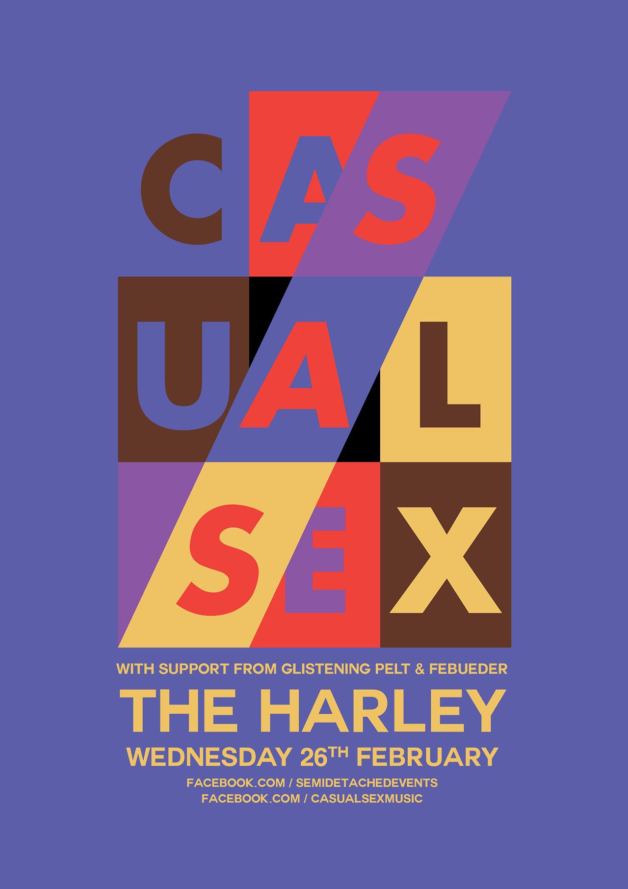 CASUAL SEX + Febueder + Glistening Pelt More information here https://www.facebook.com/events/394359097366939/ https://www.facebook.com/semidetachedevents