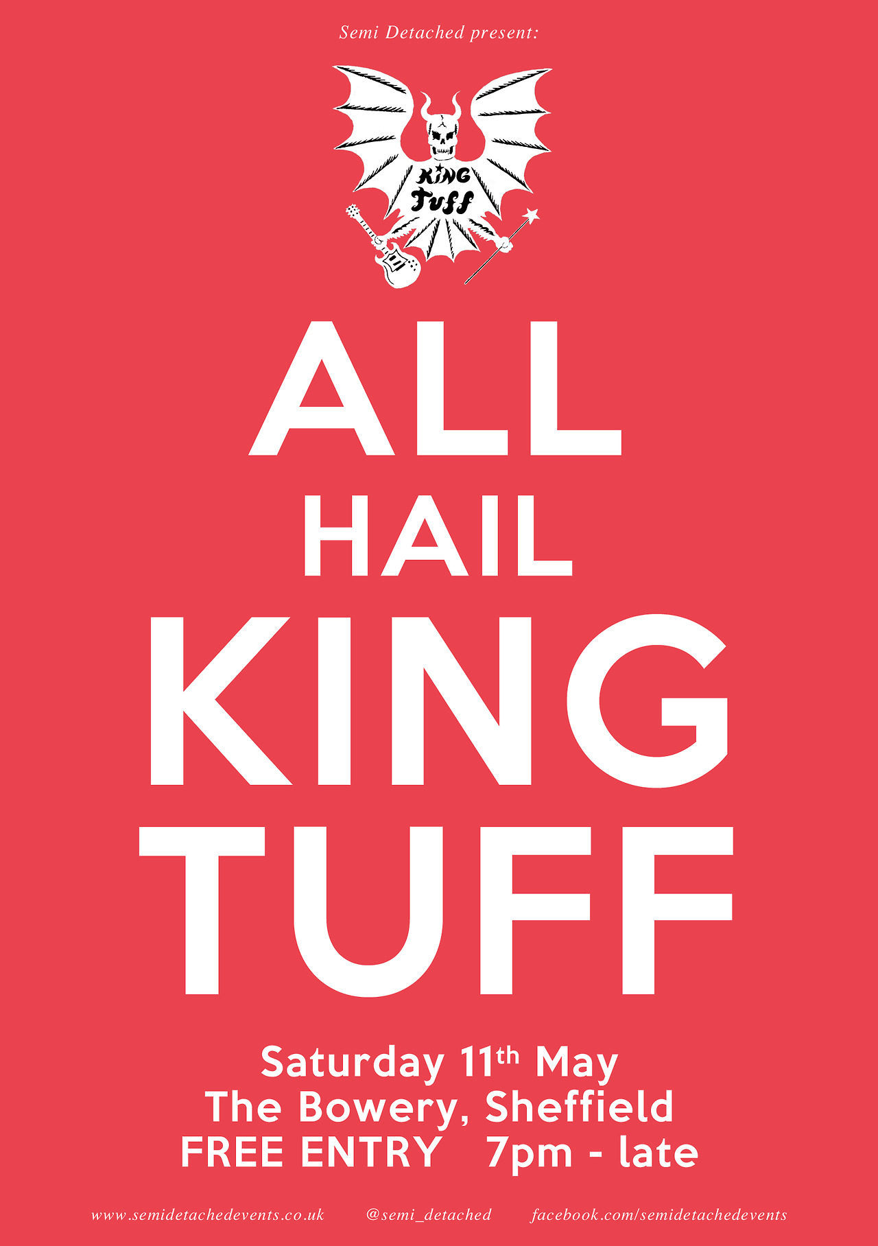 King Tuff + Support + Landslide DJ's The Bowery, Division Street, Sheffield Saturday 11th May 2013 7:00pm - late FREE ENTRY 18+ More details can be found here. facebook.com/kingtuffy facebook.com/semidetachedevents