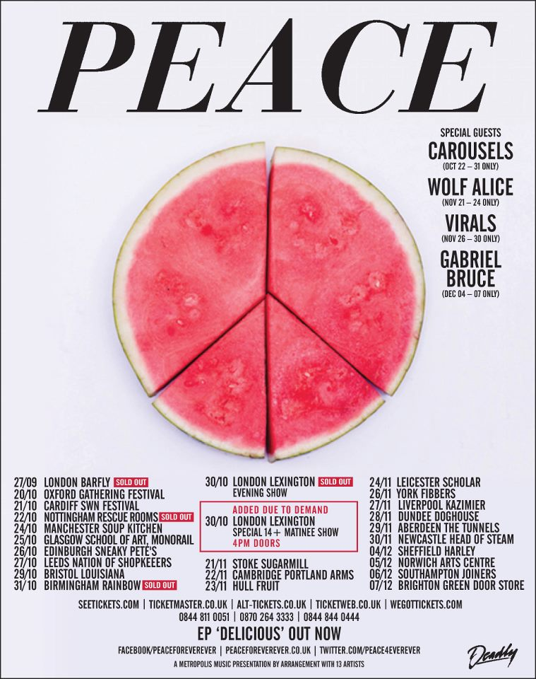 luvluvluvrecords: Gabriel Bruce is supporting Peace on their UK tour! SHEFFIELD December 4th NORWICH December 5th  SOUTHAMPTON December 6th  BRIGHTON December 7th  Go see them!!