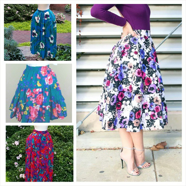The image on the right is inspiring me to pair a lovely vintage skirt with sexy, strappy heels. The three skirts on the left are available at  sheandhervintage.etsy.com . As seen on  our Instagram