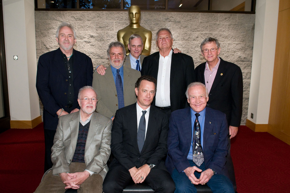 40th Anniversary screening of 2001:A Space Odyssey- Seated, left to right: Douglas Trumbull; Tom Hanks; Buzz Aldrin. Standing, left to right: Bruce Logan; Sid Ganis; Keir Dullea; Gary Lockwood; Daniel Richter