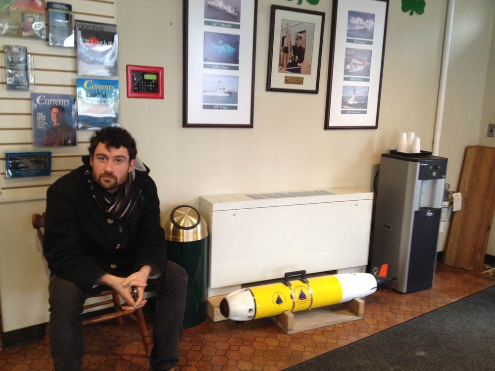 Jordan with an autonomous submarine at the Woods Hole Oceanographic Institution.  Thanks to Norman Farr for the tour.