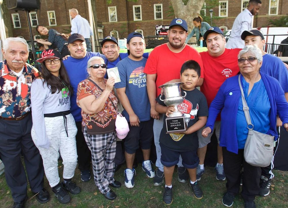 The Soriano family from Tacos El Rancho celebrates winning the Vendy Cup in 2016