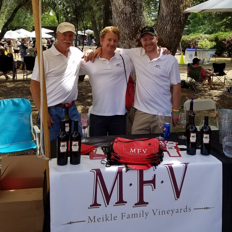 Jeff Meikle, far left, with sons Jamison Meikle (the winemaker, middle) and Jonathon Meikle (far right)