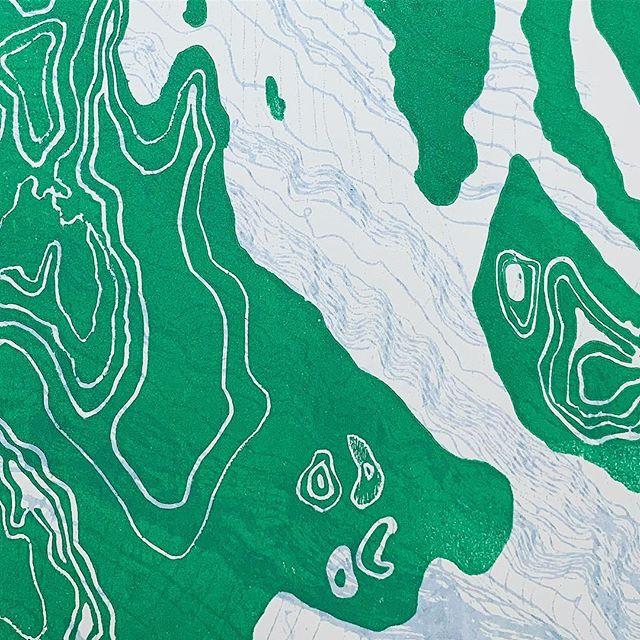 Detail. #linocut #printmaking #textileart topography #westharlem