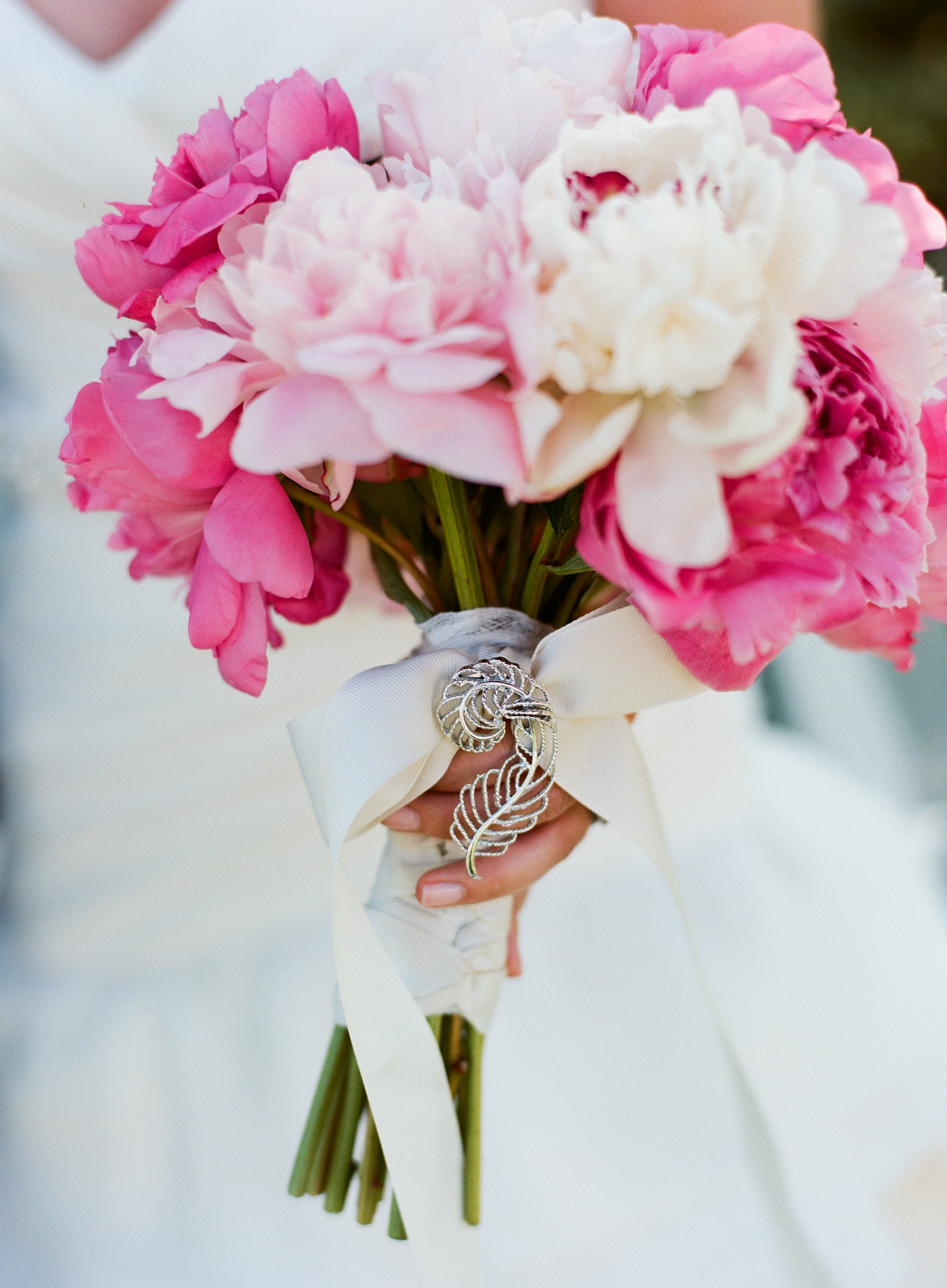 pink peonies wedding bouquets