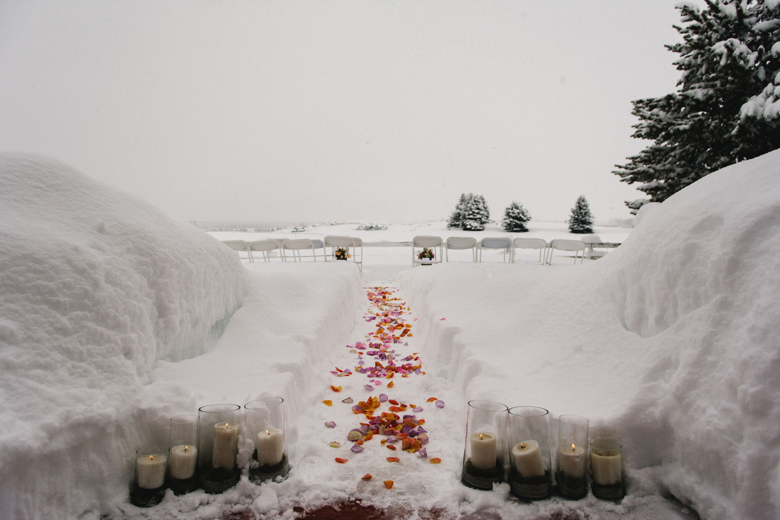 casual winter wedding ceremony aisle