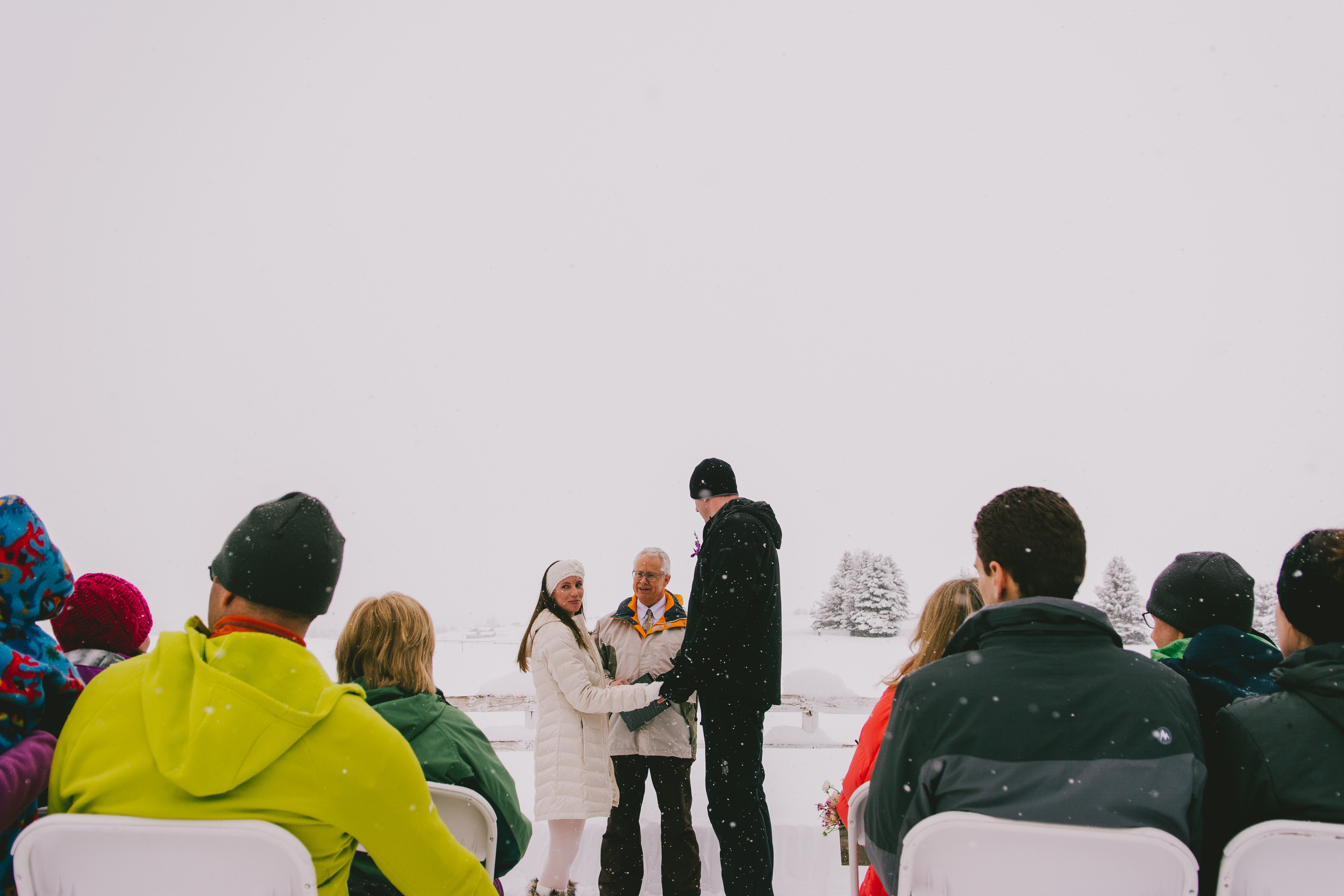 snowy casual winter wedding