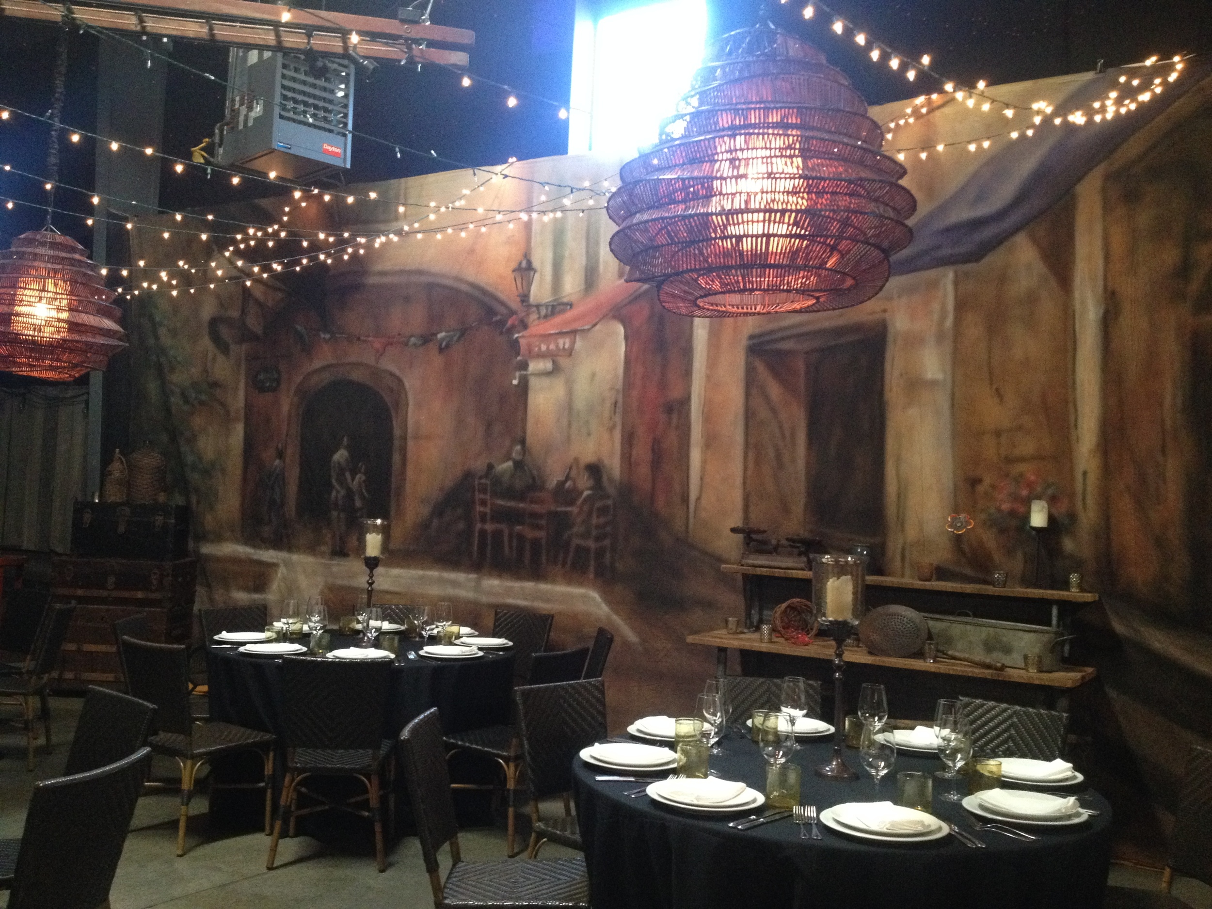 See that mural on the wall? It is on canvas and they have four different ones so you can customize your event look