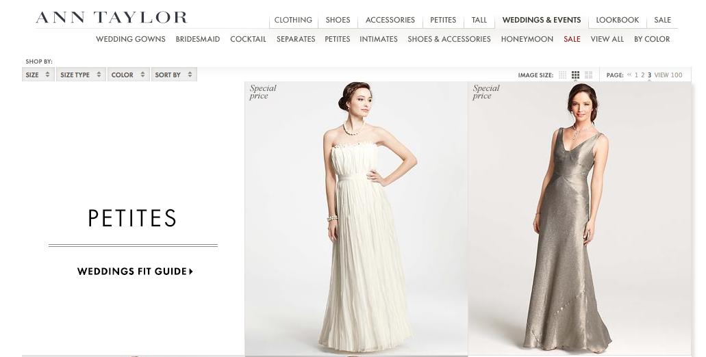 Ann Taylor petite wedding dresses