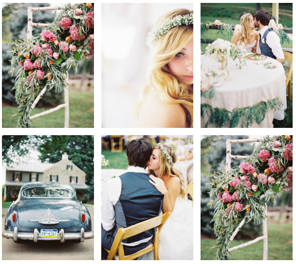 Style Me Pretty whimsical blush and gold al fresco wedding 3