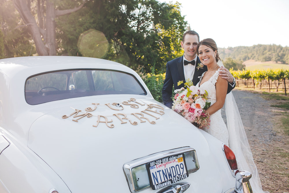 Wine Country Wedding Getaway Car