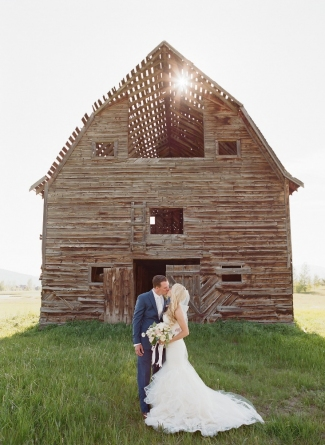 Bride and Groom Barn Rustic Wedding