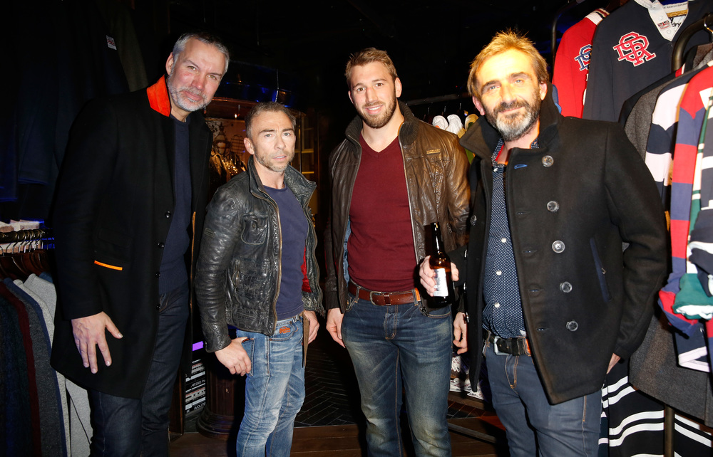 From left: Superdry CEO Euan Sutherland, co-founder James Holder, Chris Robshaw, and co-founder Julian Dunkerton.