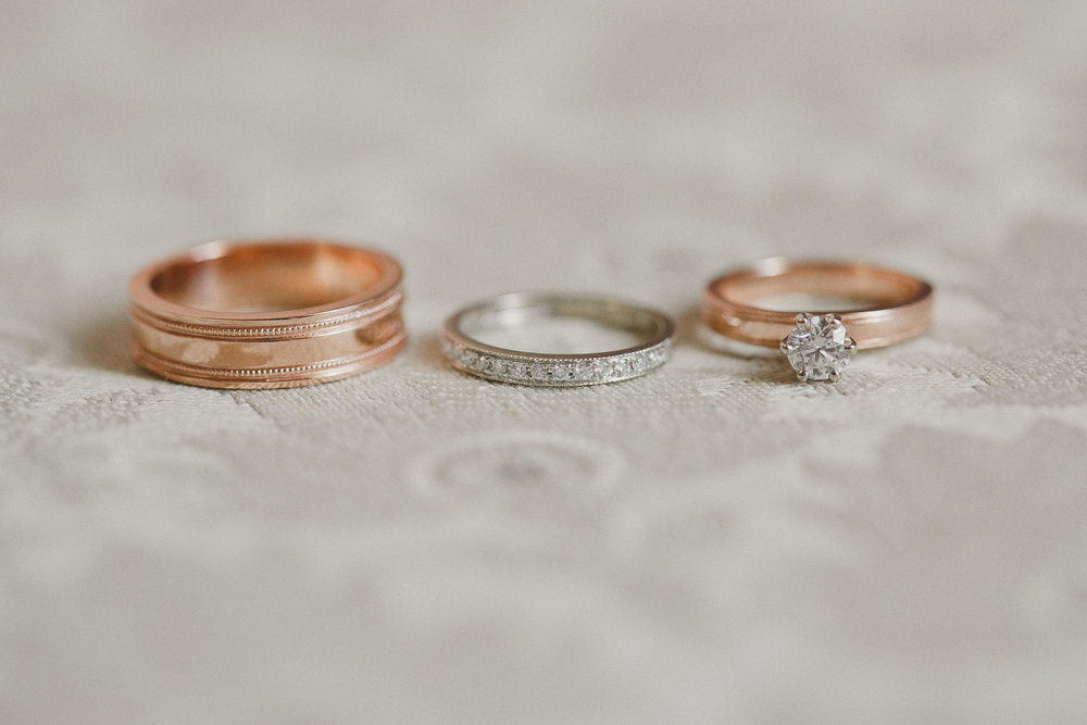 Rose Gold Wedding Rings at Fort Garry Hotel Wedding Winnipeg Manitoba