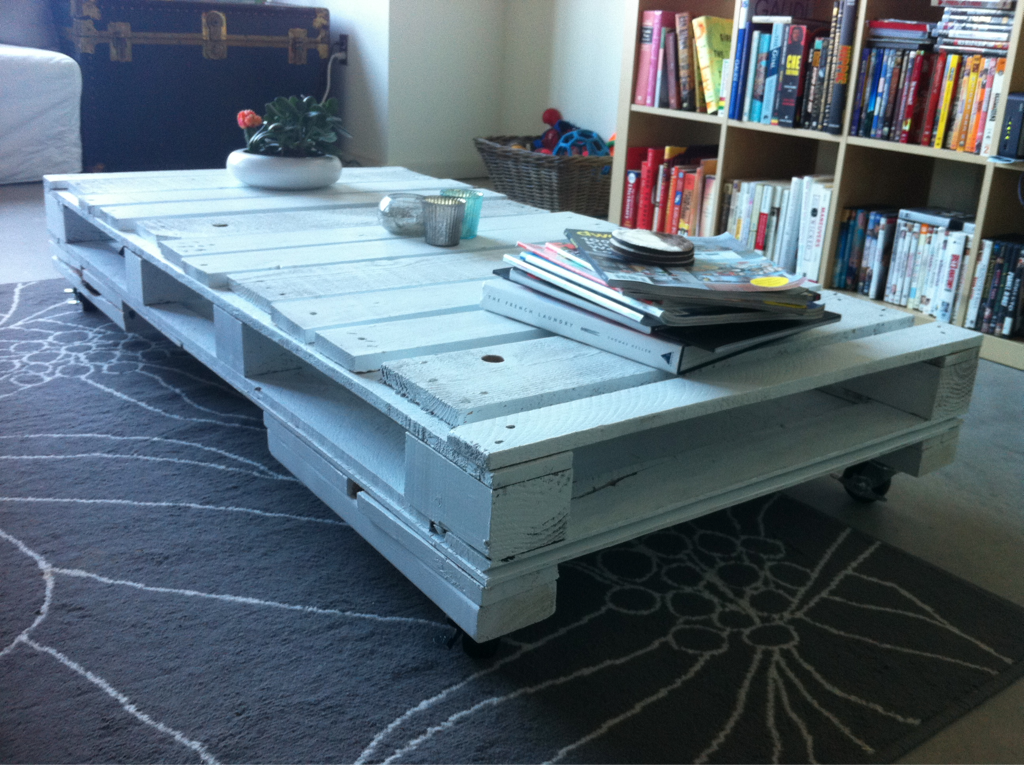 my babycenter app told me that this is the time to get all of the things done around the house that you want before baby bean comes.  this pallet coffee table was our first project.    next will likely be finding the mid-century modern dresser (which wi double as a changing table) i've been looking for.  come on, craigslist!