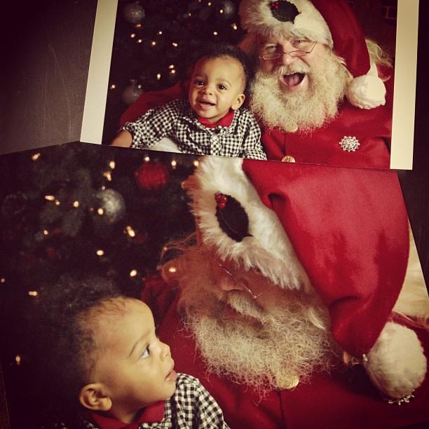silas met the real santa at the christmas village today.  #babysfirstxmas #noreallyhessanta!