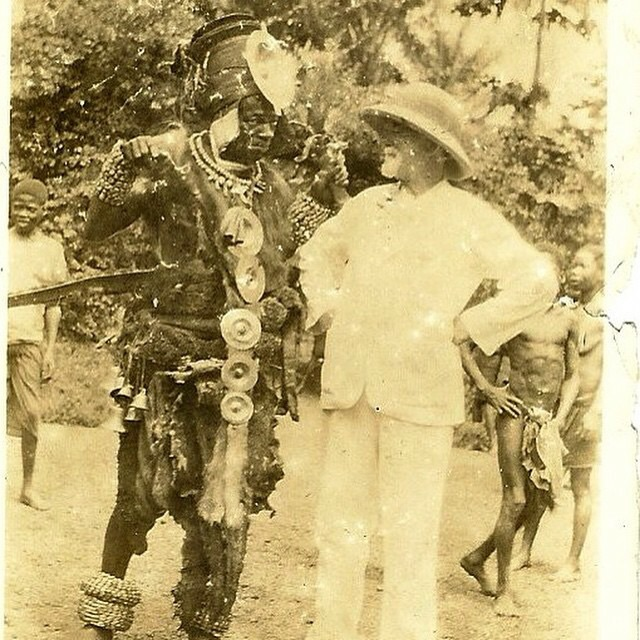 my great-grandfather (left) in his village in zaire/democratic republic of congo with what can only be assumed to bea belgian colonist circa 1890's.