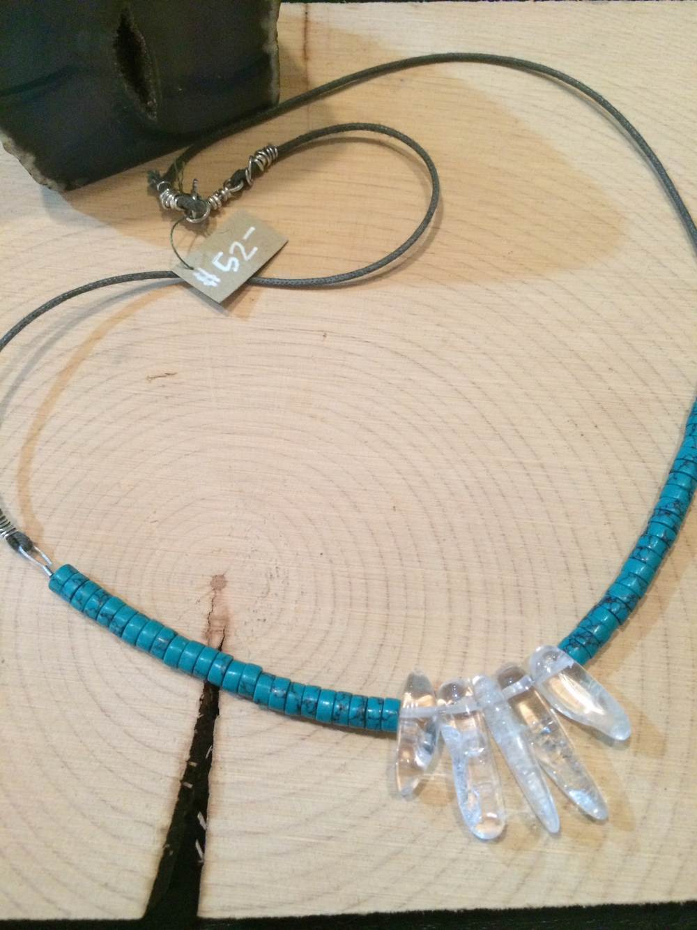 turquoise + crystal + sterling silver on cotton: $52