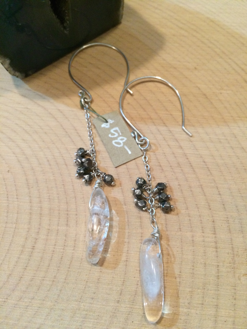 pyrite + crystal + sterling silver: 58
