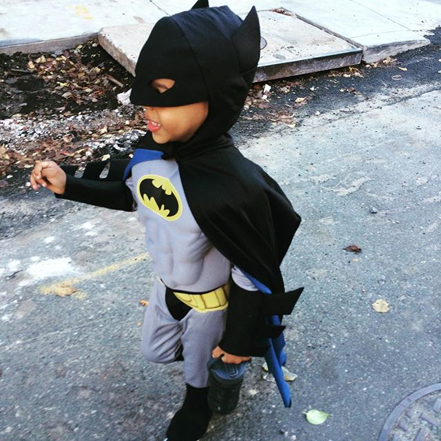 batman is SO excited for costume day. and for the fact that the 'air' is making his cape fly.  #toddlertales #happyhalloween #costumeday