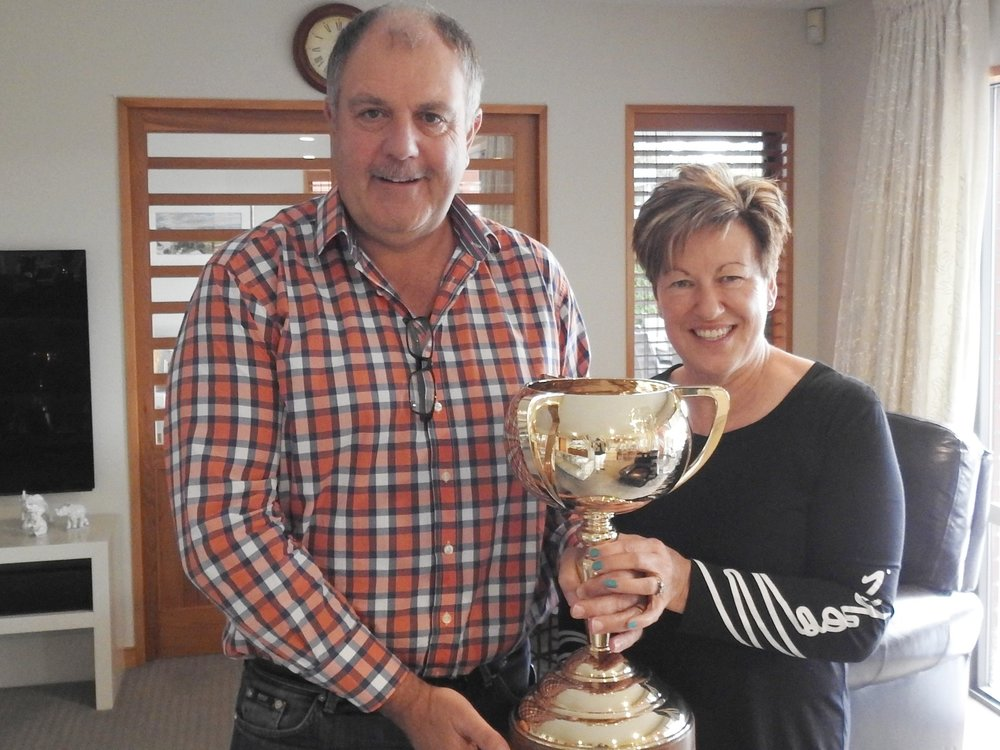 Phil and Glenys with the greatest harness prize of all-Lazarus's NZ Cup-or one of them!