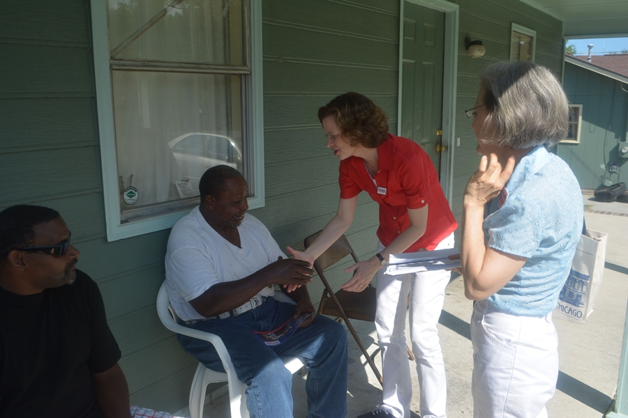 Michelle Nunn knocking doors in Georgia.