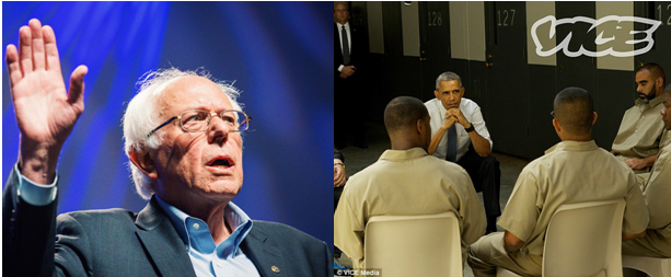 Black and white: (left) Bernie Sanders irritated by #BlackLivesMatter protesters; (right) President Obama becomes the first sitting US president to visit a prison and hear the concerns of the inmates.
