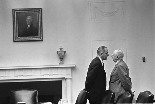 "LBJ giving Senator Richard Russell (D-GA) ""The Treatment."""