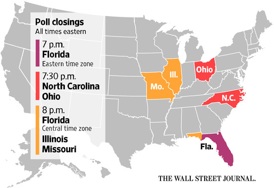Poll closing times. Wall Street Journal.