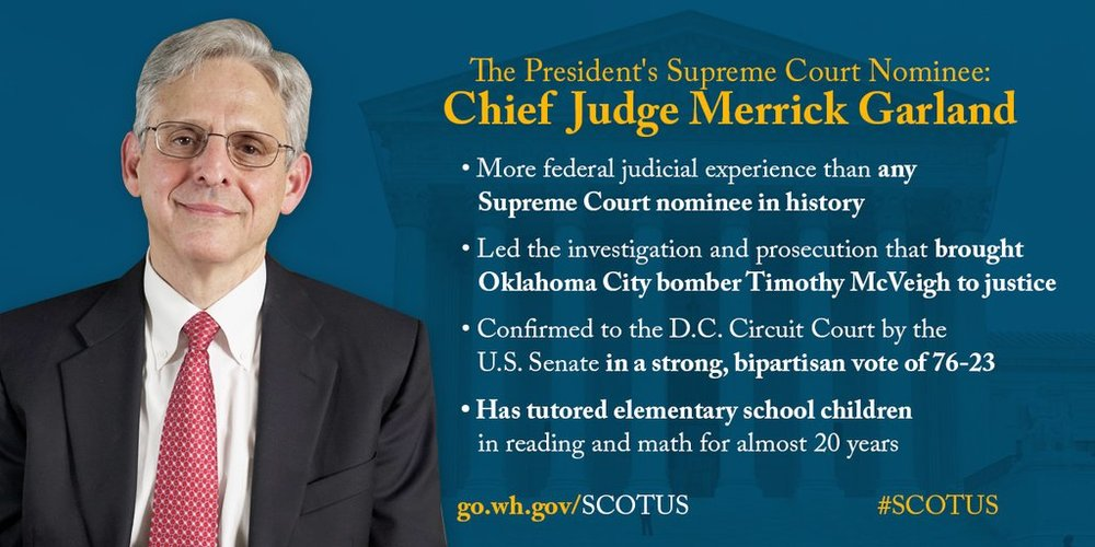 President Obama's nominee to the Supreme Court: Chief Judge Merrick Garland of the DC Circuit.