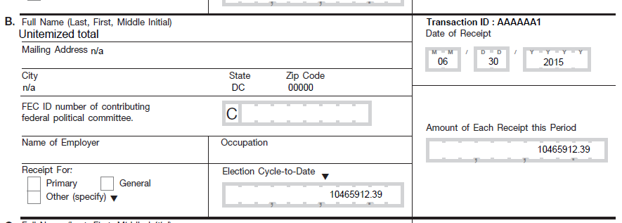 From Bernie 2016 campaign filing, of July quarterly, 2015. See Filings here.