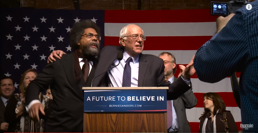Cornel West and others have chosen to embrace Bernie Sanders' campaign. Image from YouTube.com