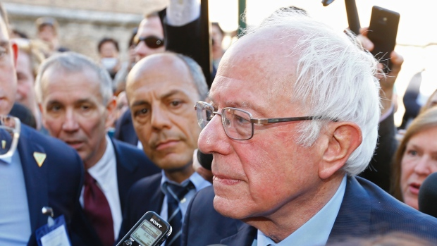 Senator Sanders live at the Vatican.           Image from Stefano Rellandini/Reuters.