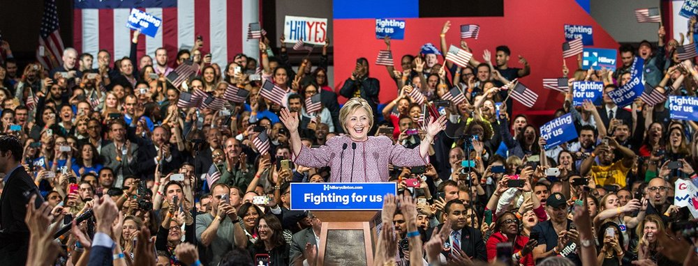 Hillary Clinton at her victory rally in New York. Photo from Hillary Clinton campaign site.