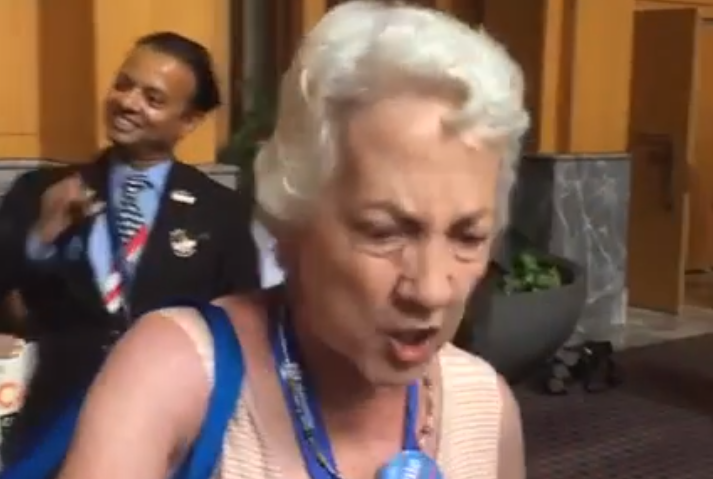 Angry Bernie supporter at DNC.