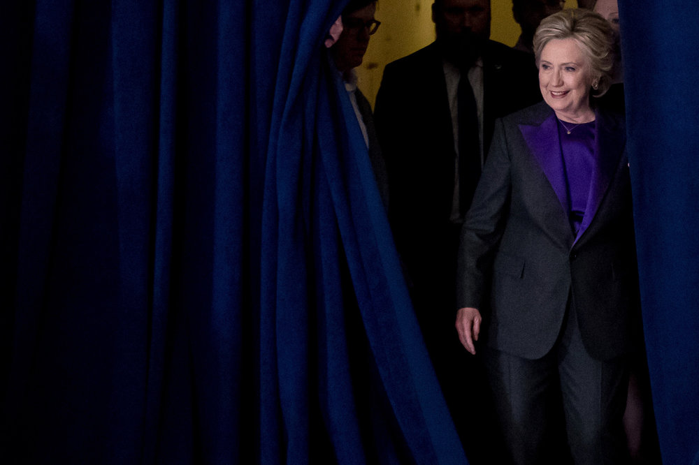 Hillary Clinton walks to stage on election night to deliver her concession speech.