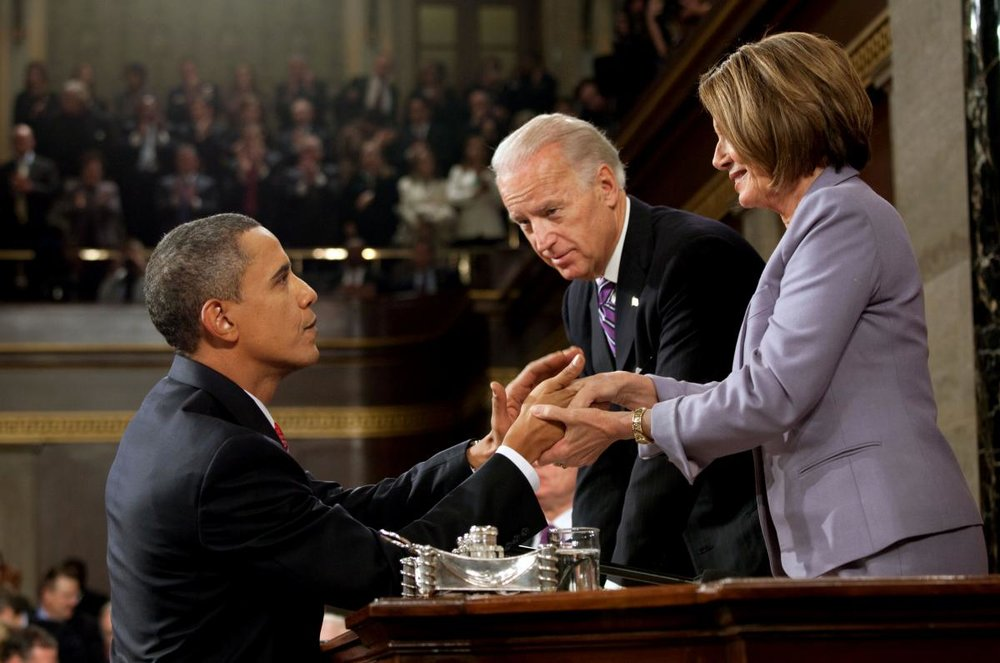 Speaker Pelosi and President Obama greet each other before the 2009 State of the Union address. Source: Obama Presidential Library.