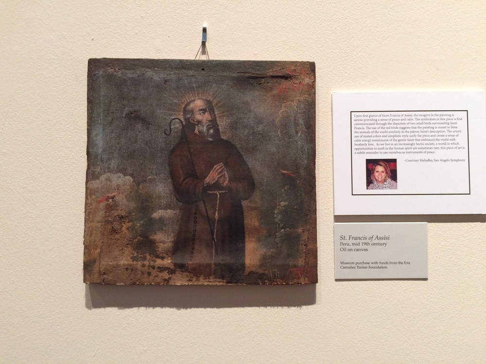 Meditations: religious art Saint Francis of Assisi from Peru, selected by a member of the San Angelo Symphony