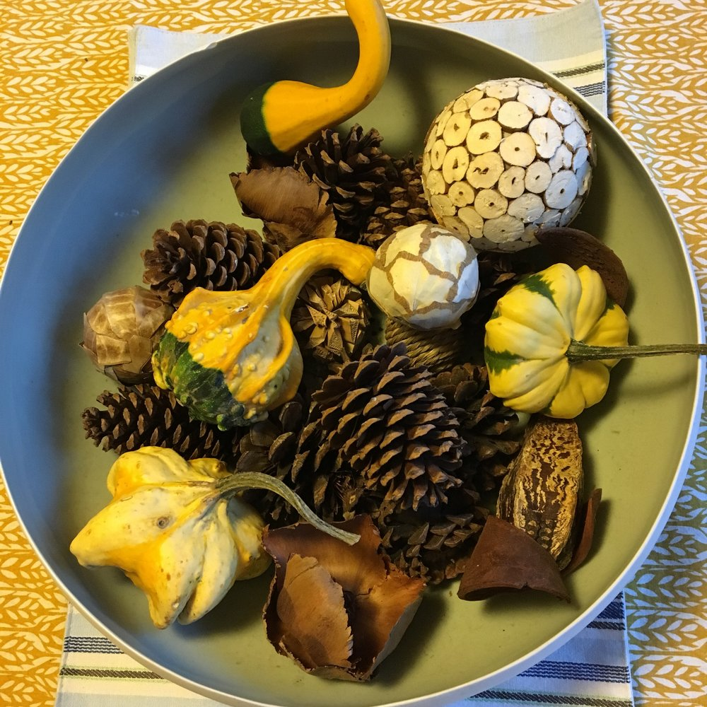 Tablecloth from Crate and Barrel, ceramic bowl from a garage sale (I know!), vase filler from Target mixed with pinecones and decorative gourds