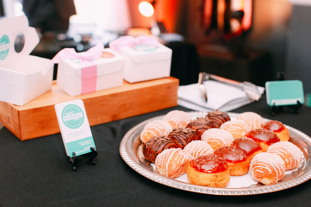 District Doughnut provided the dessert tasting.  Did you know they make a tiered wedding cake from these amazing mini doughnuts? Image courtesy of  Vness Photography .